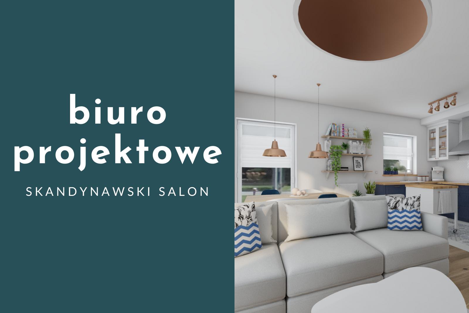 Biuro projektowe – salon z aneksem w stylu skandynawskim