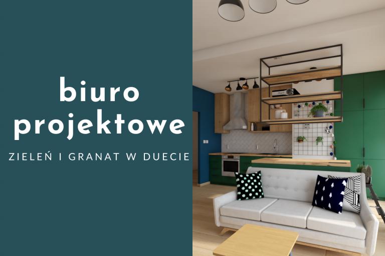 Biuro projektowe – mocne kolory w salonie z aneksem