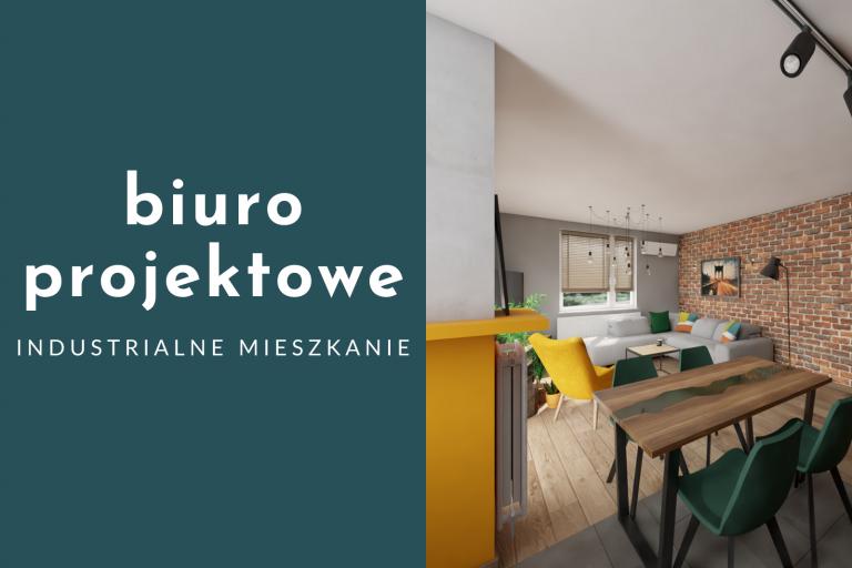 Biuro projektowe – industrialne mieszkanie z kolorowymi akcentami