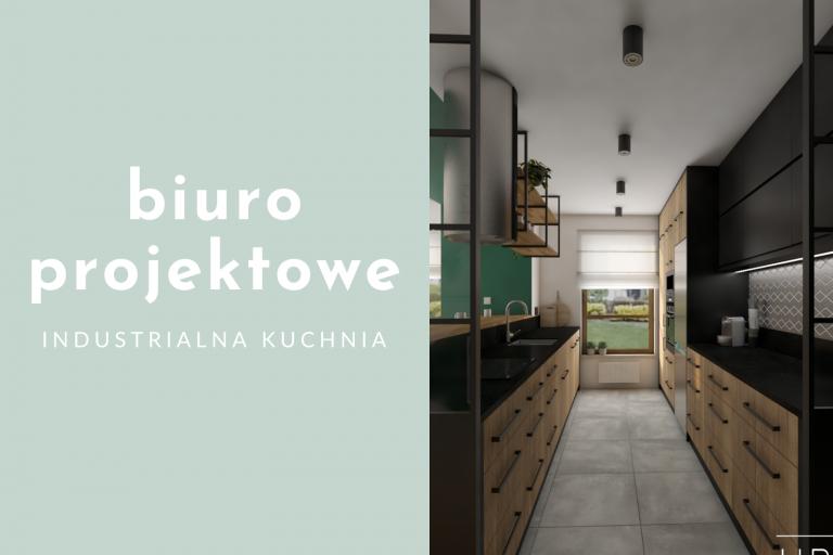 Biuro projektowe – industrialna kuchnia z zielenią