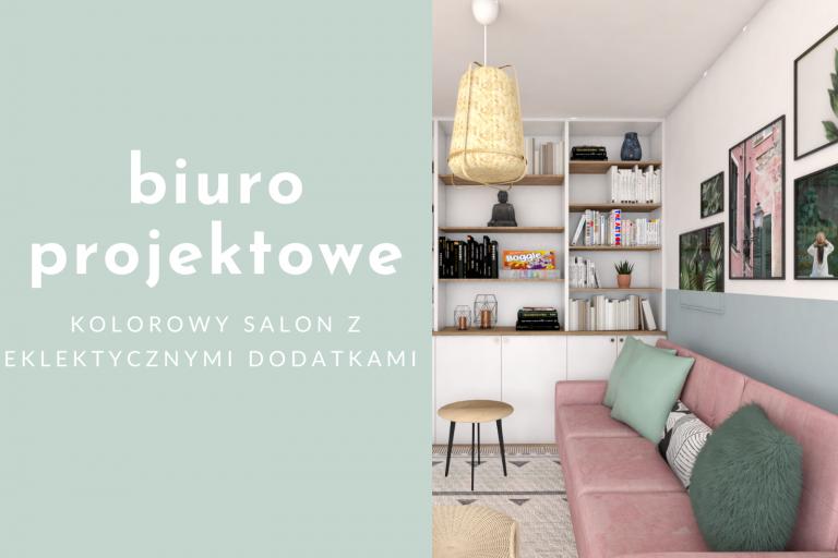 Biuro projektowe – eklektyczny salon z różową sofą