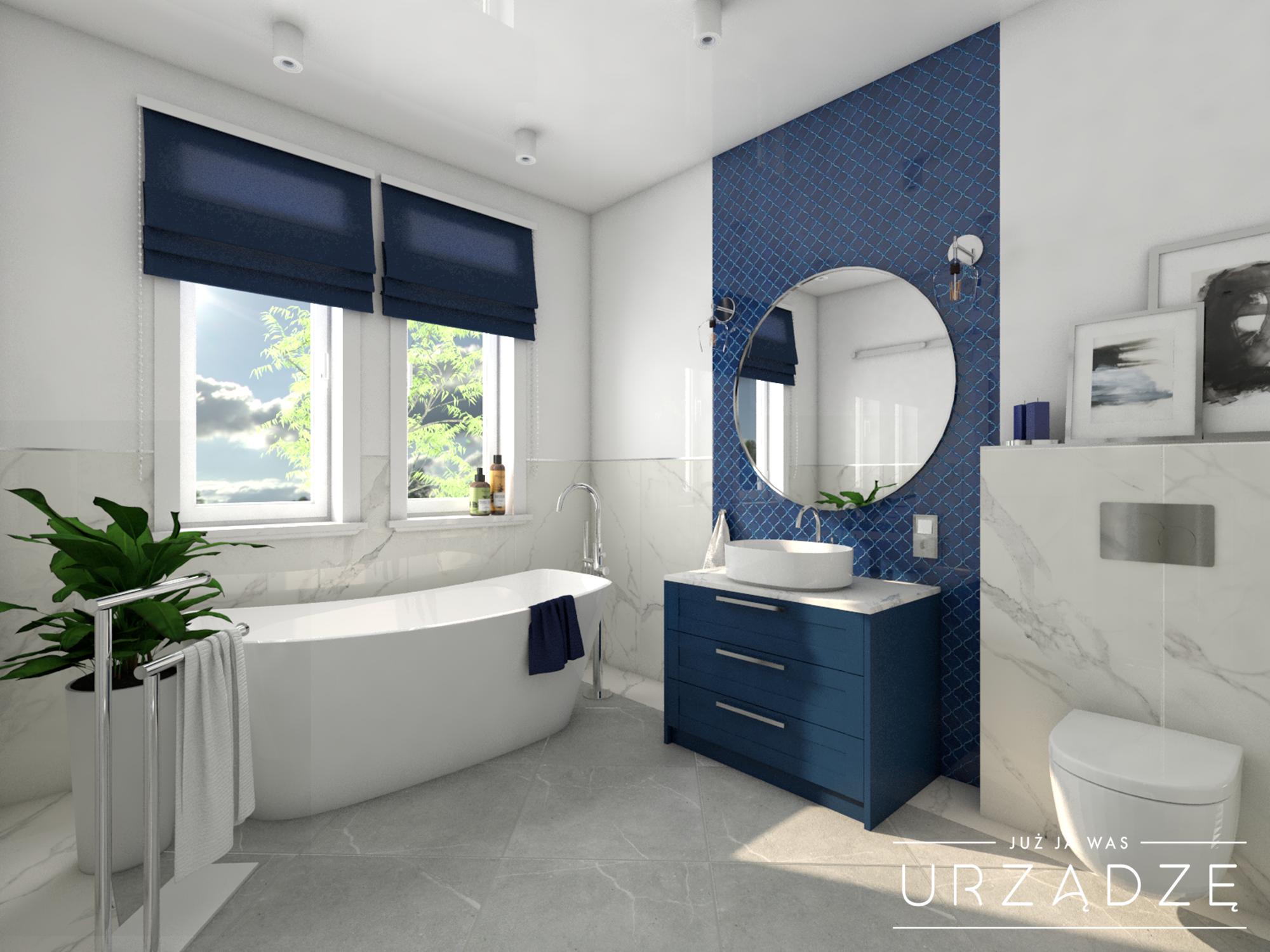 Dom w stylu klasycznym z niebieskimi akcentami